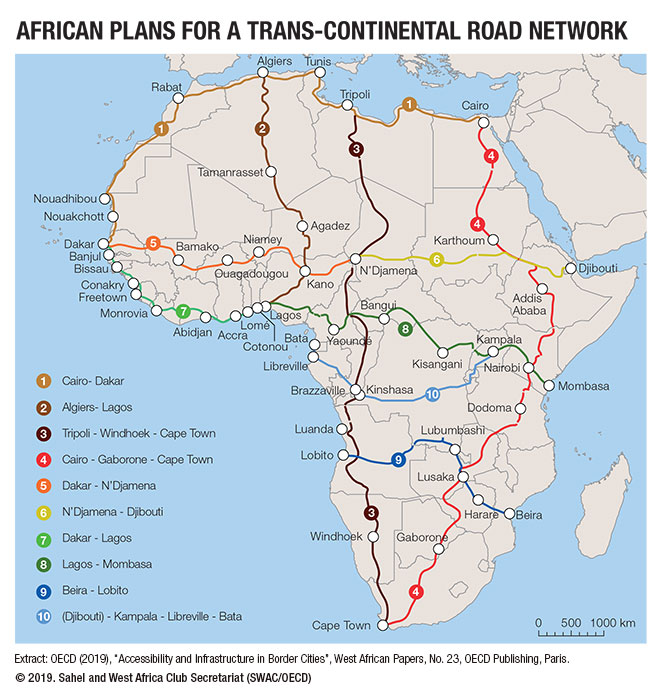 Road Map West Africa African plans for a trans continental road network | West Africa